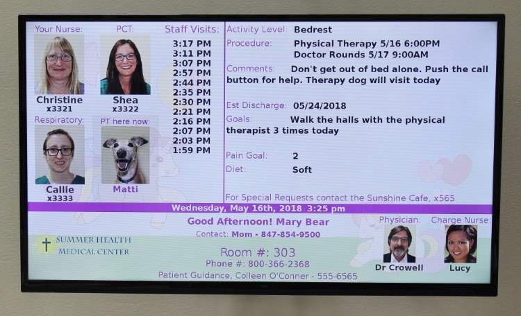 Digital Patient Room Status Board with picture of hospital Therapy Dog