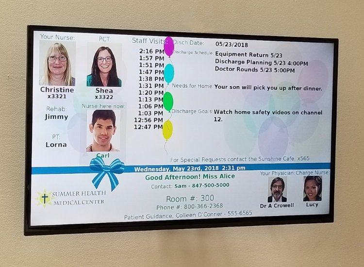 Digital Patient Room Whiteboard with Rounding Status